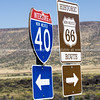 Interstate I40 and Route 66 combined sign New Mexico, USA.