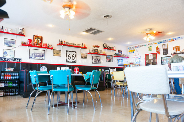 Diner at Adrian, official midway point  between Chicago - Los Angeles on Route 66, Texas, USA.