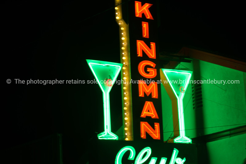 Kingman Club with cocktail glassilluminated neon sign on Route 66,  retro style in Kingman, Arizona USA