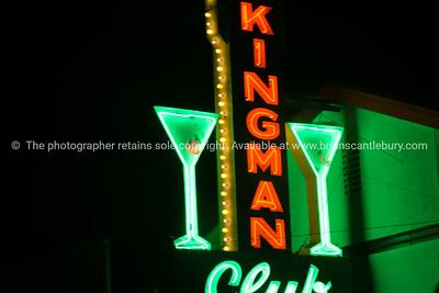 Kingman Club with cocktail glassilluminated neon sign on Route 66,  retro style in Kingman, Arizona USA