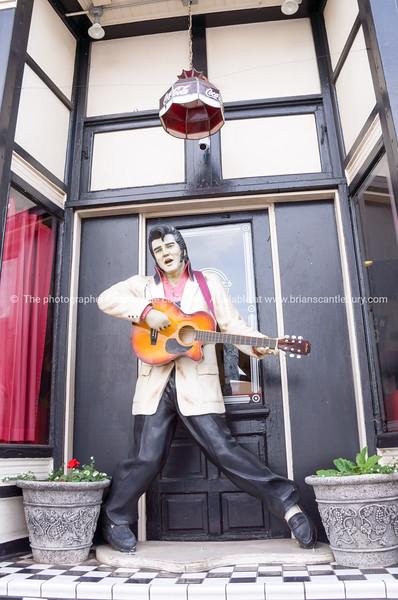 Elvis model with guitar, Williams, Arizona, USA.