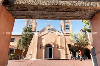 San Felipe de Neri Church in Spanish architectural style in Plaza, Albuquerque, New Mexico, USA.