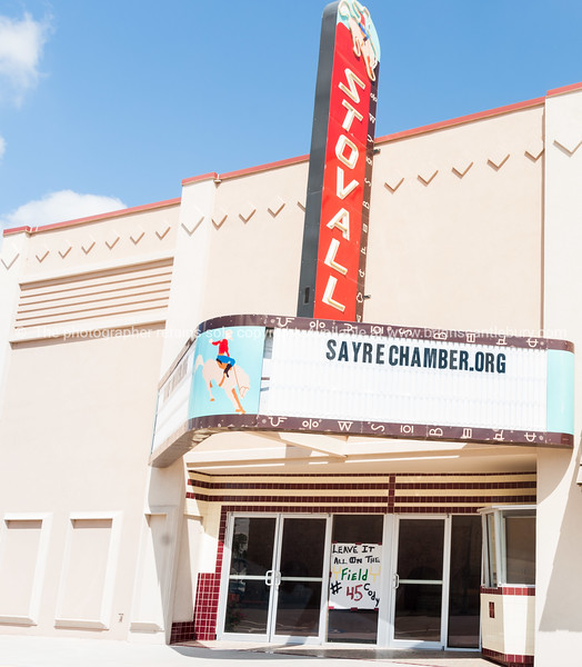 The Stovall Theatre opened in June 1950, alongside an old alignment of the Mother Road which passes through downtown Sayre, Oklahoma.