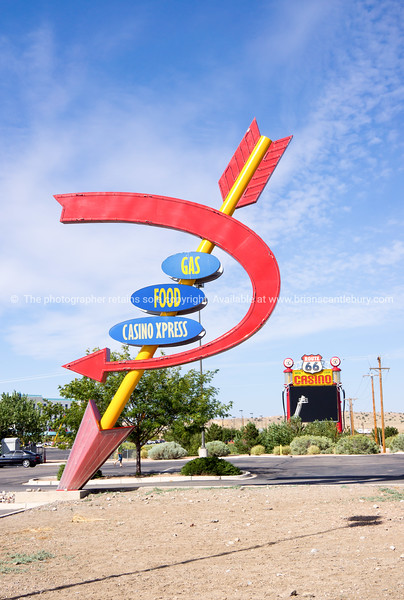 Route 66 Casino, Rio Puerco,  New Mexico, USA. sign in shape of arrow in ground.