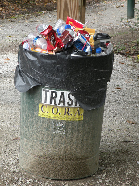 Thank you for using the trash can instead of littering!<br /> Next time we're up here we'll bag the trash and haul it out with us to help C.O.R.A.