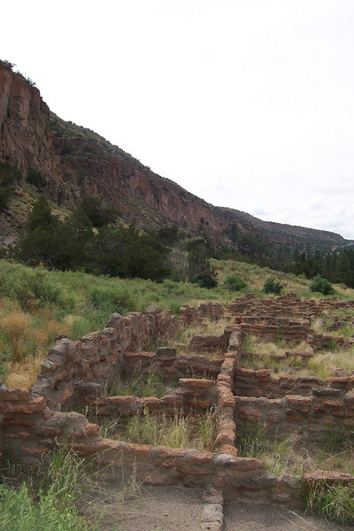 """Part of the settlement at Bandelier. It's in a canyon called Frijoles (""""Beans"""") and you can see the east canyon wall here. This shot is looking southward"""