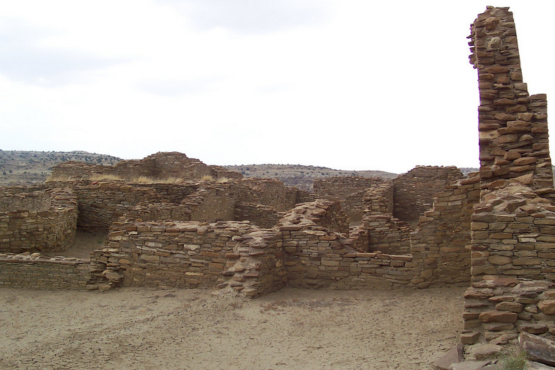 The amount of labor required to build these great houses would've been steep. The Chacoans were the ancestors of the Navajo and didn't have the wheel. They probably didn't have much in the way of pack animals, either