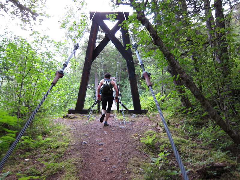 Randall heading for one of the suspension bridges