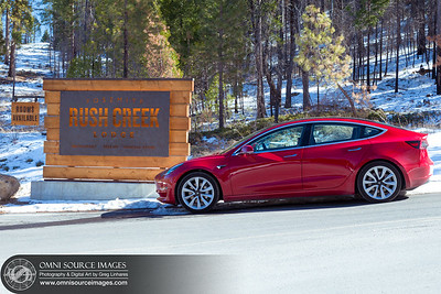 Yosemite Rush Creek Lodge Entrance with Tesla Model 3