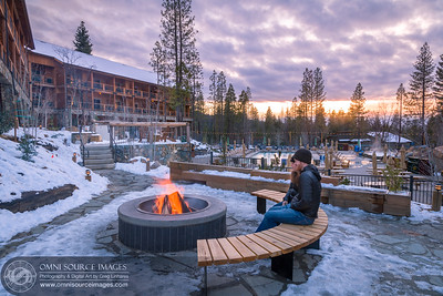 Rush Creek Lodge Sunset by the Fire