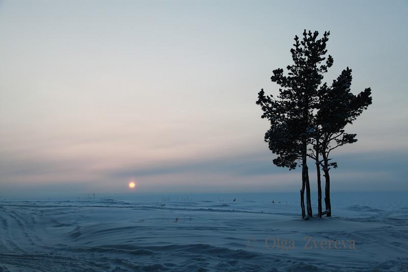 <p>Sunset over Ob River, Siberia, Russia.The temperature is  -36 C. December 2010.</p>