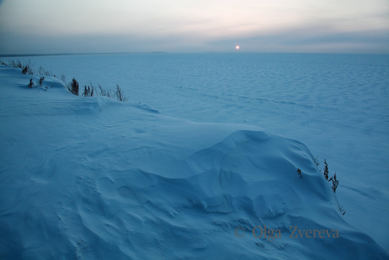<p>Sunset over Ob River, Siberia, Russia.The temperature is  -36 C. December 2010.</p>