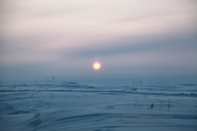 <p>Sunset over Ob River, Siberia, Russia. The temperature is -36 C. December 2010.</p>