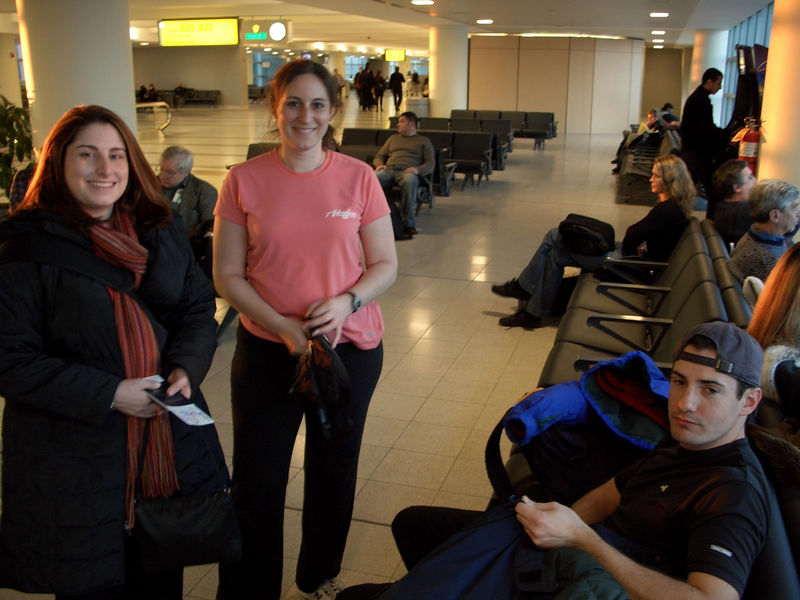 Lisie, Rachel, and Josh waiting at JFK for our flight to Kiev, Ukraine
