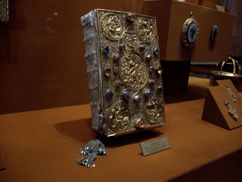 Lots of books with ornate binding
