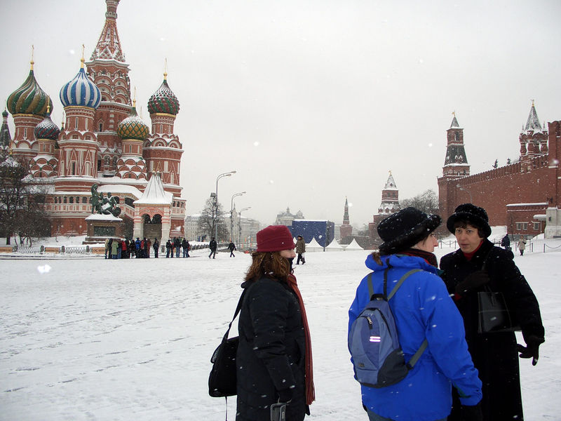 Lisie, Rachel, and our Guide Ludmila in Red Square.