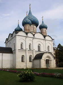 Suzdal - Suzdal Kremlin; The Nativity of the Virgin Cathedral was founded in the 1220's.  Only it's richly carved lower section is original white stone as the remainder is 16th century brick.