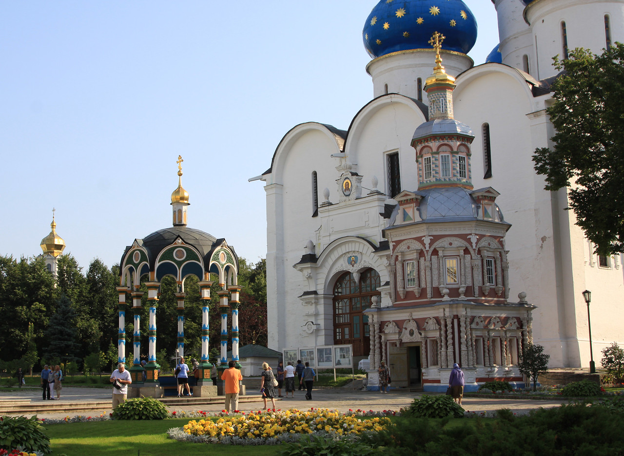 Trinity Monastery of St Sergius, Sergiev Posad - The courtyard in front of Cathedral of the Assumption,with the Assembly Chambers and Chapel-at-the-Well.