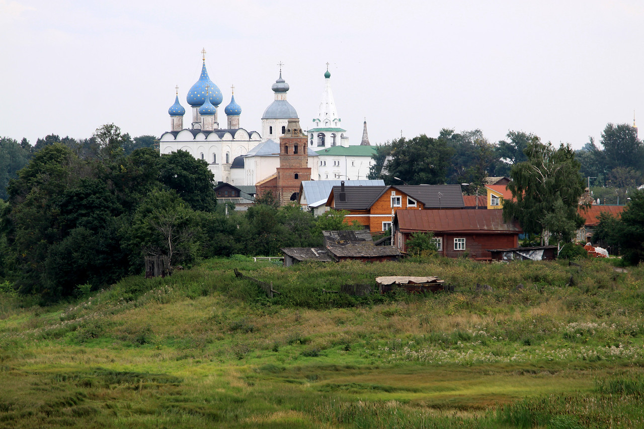 Suzdal - Distant view of the Kremlin and associated buildings.