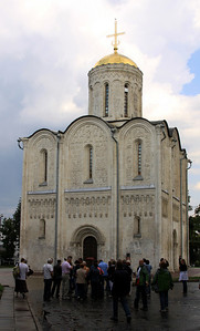 Vladimir - Cathedral of St Dmitry, with exterior stone carvings.