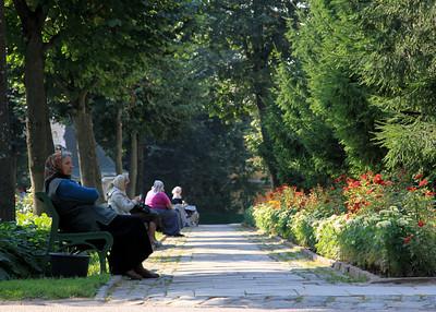 Trinity Monastery of St Sergius, Sergiev Posad - Gardens and visitors.