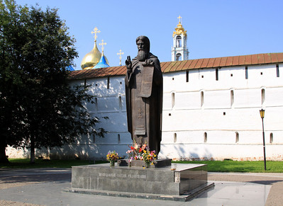 Trinity Monastery of St Sergius, Sergiev Posad - Statue to St Sergius outside the monastery.