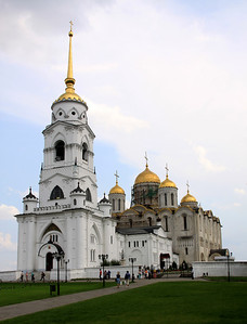 Vladimir - Assumption Cathedral (background); building began in 1158 and was extended in the 1180's. In front of the cathedral is the Bell Tower (1810) and St Georges Chapel (1862).