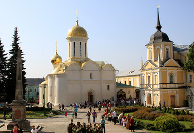 Trinity Monastery of St Sergius, Sergiev Posad - The central courtyard showing the Trinity Cathedral and Vestry.