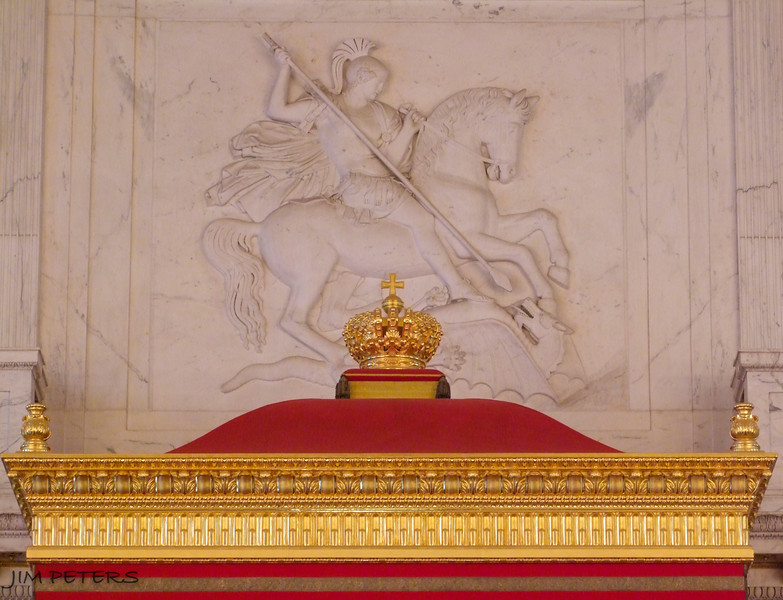 Canopy atop Throne of Peter the Great.  Above St. George slaying the dragon.