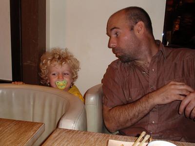 Dash making mischief at the restaurant.