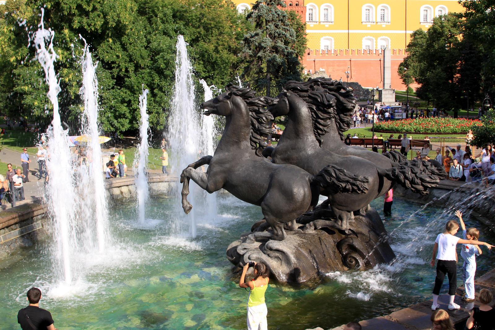Four Horse Fountain within Alexandrovsky Gardens, near the Kremlin.