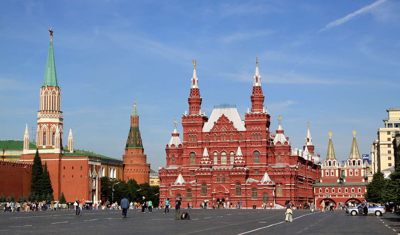 Red Square - The State History Museum, St Nicholas Tower and the Corner Arsenal Tower on the walls of the Kremlin.