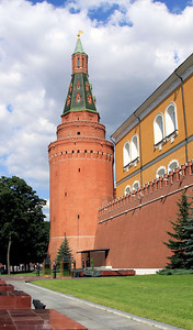Corner Arsenal Tower, on the walls of the Kremlin.  Beneath it is the Tomb of the Unknown Soldier and Eternal Flame.