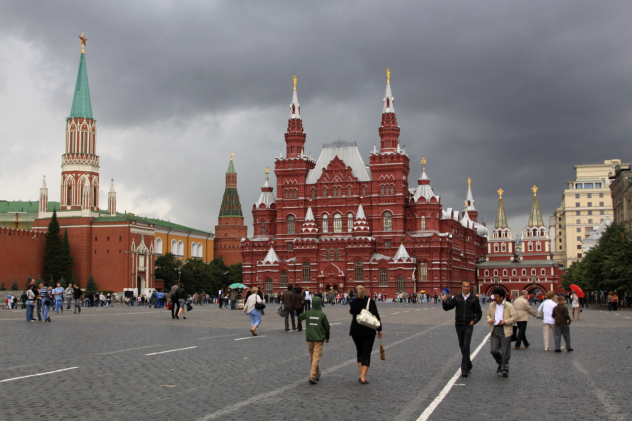 Red Square - The Resurrection Gate, State History Museum, Corner Arsenal Tower and St Nicholas Tower  on the walls of the Kremlin (from right to left)