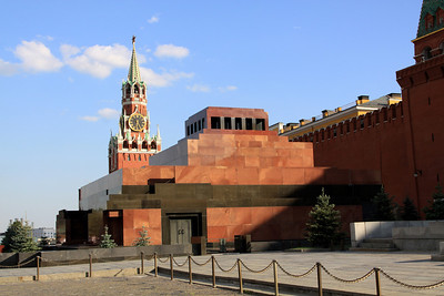 Red Square - Lenin's Mausoleum, the Saviour Gate Tower and the walls of the Kremlin.