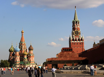 Red Square - St Basil's Cathedral, Lenin's Mausoleum and Saviour Gate Tower on the walls of the Kremlin.