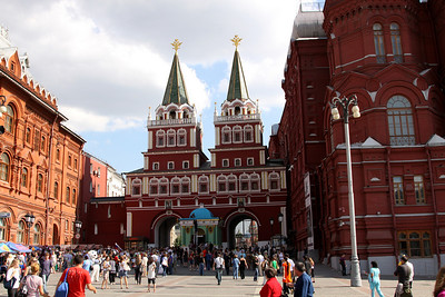 The Resurrection Gate, the main entrance into Red Square.  This was rebuilt in 1995 after the first gateway was destroyed in 1931 because Stalin considered it an impediment to the parades and demonstrations held with Red Square.  Within the gateway (centre) is the bright Chapel of the Iverian Virgin.