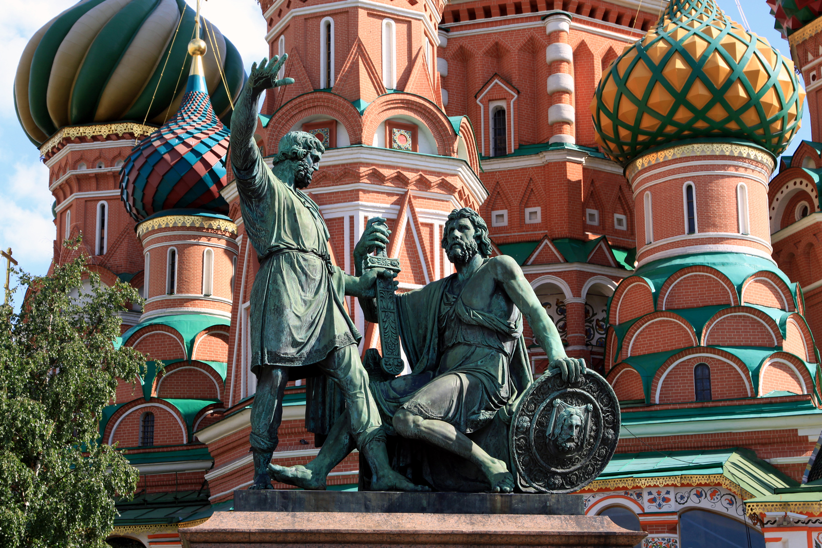 St Basil's Cathedral - The statue of Kuzma Minin and Dmitry Pozharsky, the butcher and the prince who together raised and led the army that ejected occupying Poles from the Kremlin in 1612.