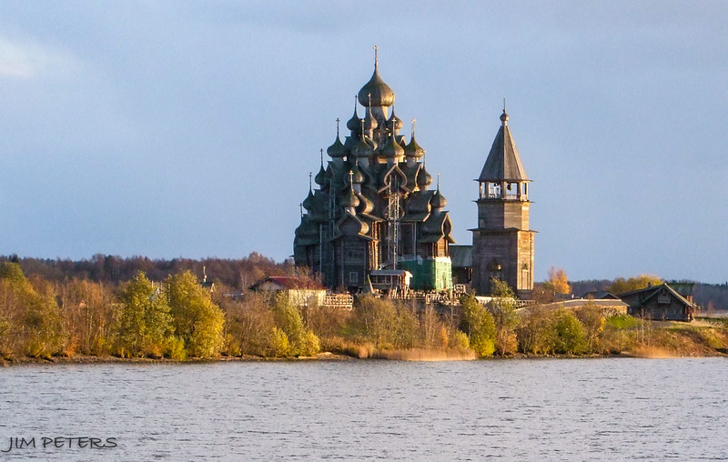 Sunset on Transfiguration Church and Bell Tower on Kizhi Island