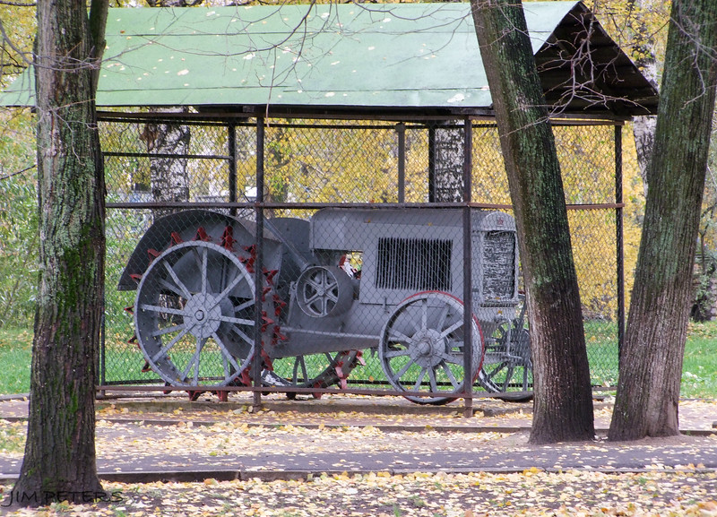 During Stalin era, tractors parked inside churches symbolizing Industry over Religion