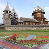 Kizhi Island - UNESCO Site - Bell Tower (L), Transfiguration Church (Center), Intercession Church (R)
