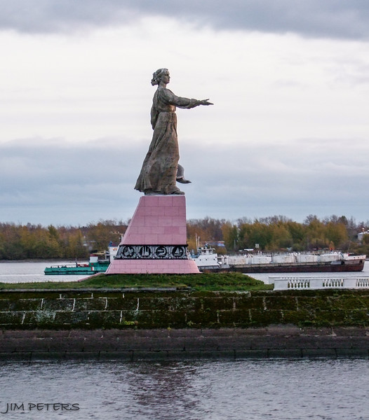 Statue on Volga River (Matushka or Little Mother) at entrance to Rybinsk Lock