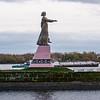 Statue on Volga River (Matushka or Little Mother) at entrance to Rybinsk Lock