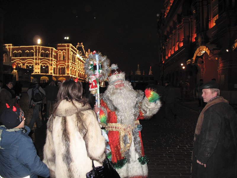 It's not uncommon to see characters like this in Red Square - they'll dress up and pose with the tourists.  This Grand Father Frost turned out to be quite the grouch...