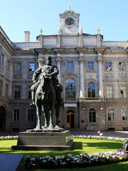 Statue of Alexander III outside the main entrance to the Marble Palace.  The statue is by sculpture Paolo Trubetskoy, who famously quipped that is 'simply depicted one animal on another'.