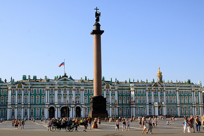 The Winter Palace and Alexander Column on Palace Square (Dvortsovaya Ploshchad). Alexander Column is named after Alexander I and commemorates the 1812 victory over Napoleon.   It was erected in 1834.