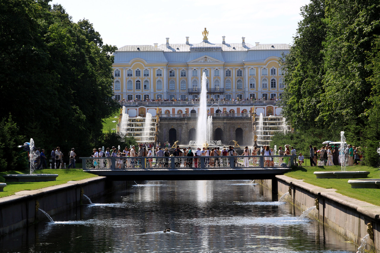 Petrodvorets (or Peterhof) Palace, looking up the Marine Canal which connects the Grand Palace and Grand Cascade fountains to the Gulf of Finland.