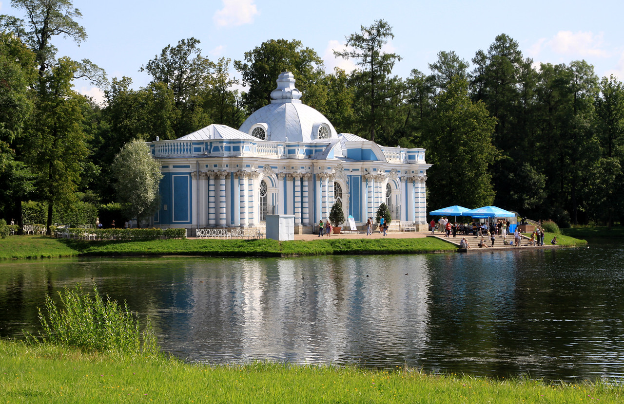 Catherine Palace Park - The Pavillion or Grotto on the Great Pond within Catherine Park.