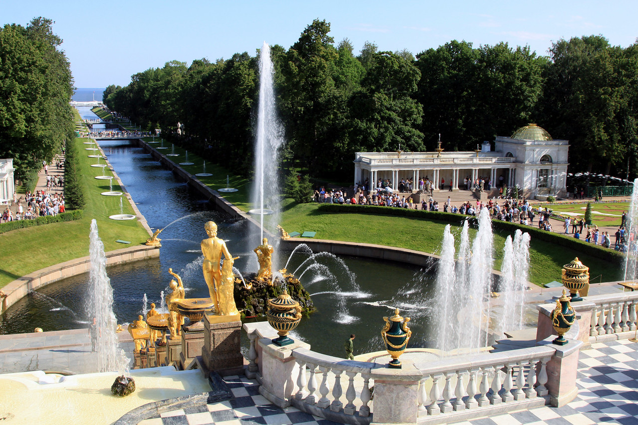 Petrodvorets (or Peterhof) Palace - A view from the front of the Grand Palace looking down the Marine Canal (or Sea Channel) to the Gulf of Finland.