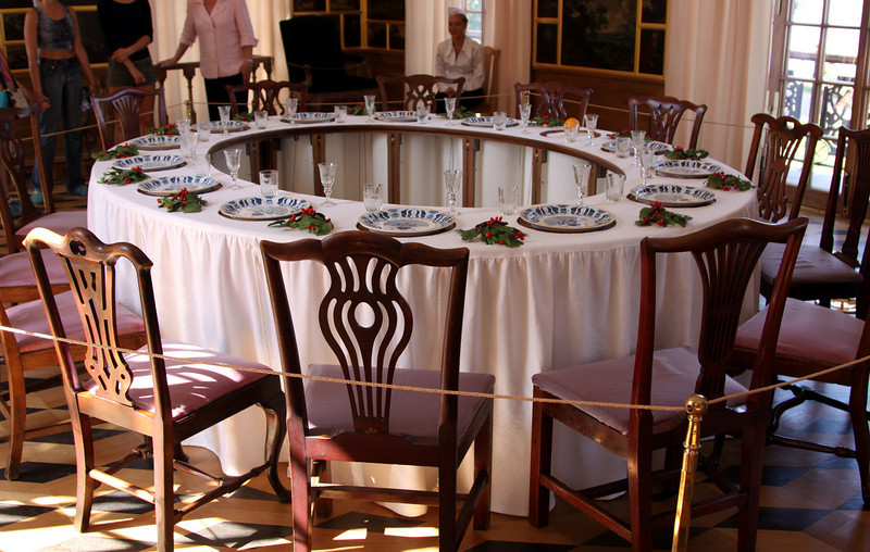 Petrodvorets (or Peterhof) Palace - The Hermitage dining table with the central elevator lowered so that food may be replenished.